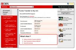 Inside look of DBS Online Banking