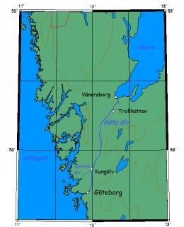 Map location of Gothenburg on the Goeta River