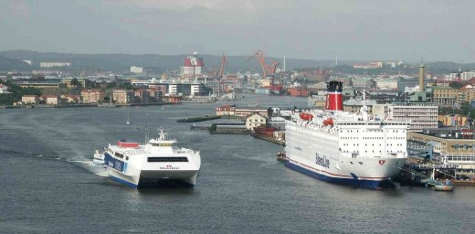 The Goeta River and Gothenburg's port, seen from the Aelvsborg bridge