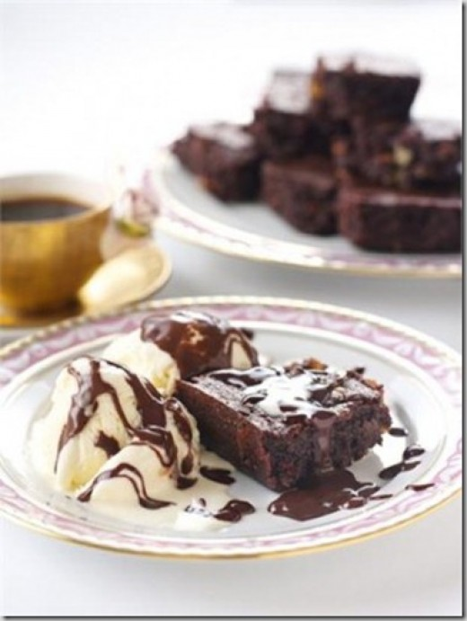 Chocolate Brownie Served with Coffee and Ice Cream