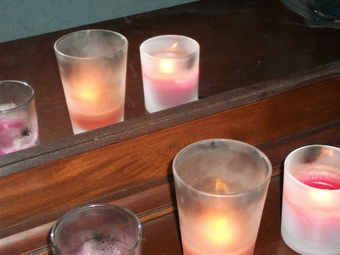 Candles in front of a mirror doubles the light.