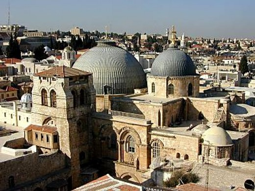 This is the Church of the Holy Sepulcher in Old Jerusalem near The Way of the Cross and also near The Dome of the Rock and The Wailing Wall.