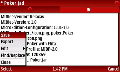 28)  Change the MIDlet-Jar-URL to Poker.jar then SELECT Menu-Save