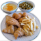 Catfish, french fries, hush puppies, grits, fry okra