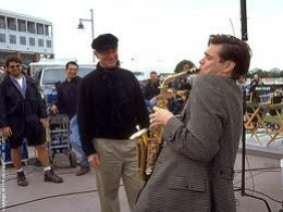 """Jim Carey on location in Seaside, Florida during the filming of the monie """"THE TRUMAN SHOW"""""""