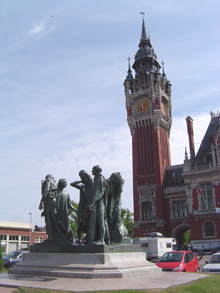 The Flemish belfry at the Town Hall of Calais, and, in the public square, Rodin's sculpture of 'The Burghers of Calais'