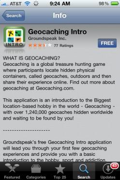 GeoCaching Free Iphone App