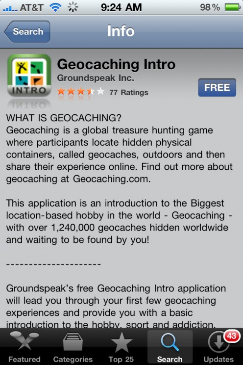 GeoCaching Free Iphone App