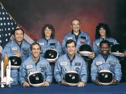 Front Row:  Michael Smith, Dick Scobee, Donald McNair Back Row:  Ellison Onizuka, Christa McAullife, Gregory Jarvis, Judith Resnick