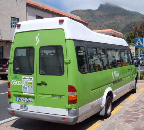 Bright green TITSA bus