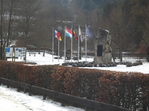 Ouren: European monument at border triangle Germany-Belgium-Luxembourg.