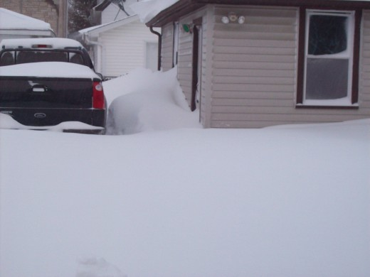 Once we get to the garage, to what end I wonder? There's no snow blower in there.