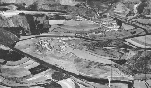 US army aerial view of Ouren in 1944. The area saw heavy fighting during the Battle of the Bulge