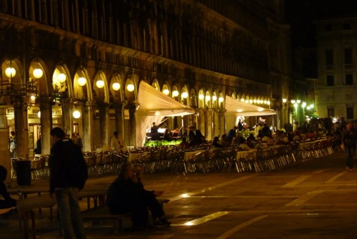Piazza San Marco at night completely in the dry