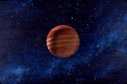 "Gas giant planet. A painting I developed as background art for the Saul Bass / Ray Bradbury short film, ""Quest."" (1983, 24x30"", acrylic on masonite) Copyright 1983-2011, Carl Martin."