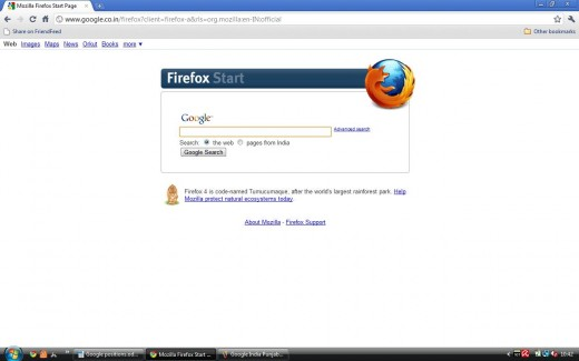 Firefox version of Google India in English