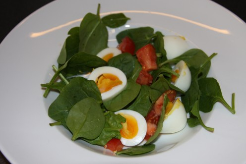 Doesn't look too bad! Baby spinach, egg and tomato