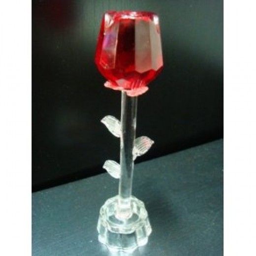 Hot Valentine Special Party Gift Gifts 3 LED Lights Red Rose with Stand Glass Crystal Figurine