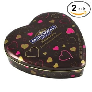 Ghirardelli Valentine's Dark Decadence Collection, 7.45-Ounce Heart Tins (Pack of 2)