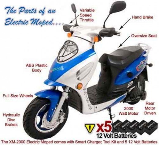 The various parts of an electric moped.