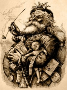 Thomas Nast is credited with creating the most popular image of Santa Claus. This drawing of Santa Claus by Thomas Nast appeared in January of 1863