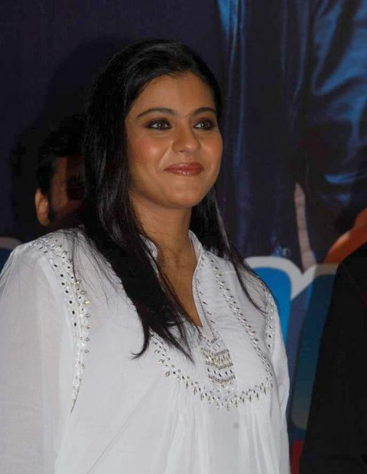 Kajol was seen wearing a white kurti at a music event.