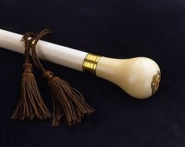"Photograph of the head of the ""Gag Rule Cane"" presented to John Quincy Adams on the eve of his victory"