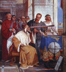 Galileo demonstrates how to use the telescope to the Doge of Venice, from a Giuseppe Bertini fresco. You do not have to be an atheist to love science.