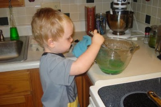 Stirring the eggs.