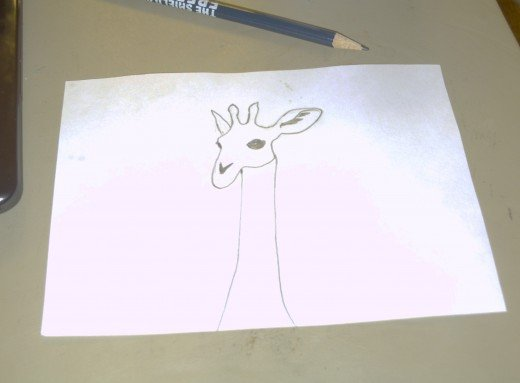 Here is the preliminary sketch of made of the solitary giraffe.
