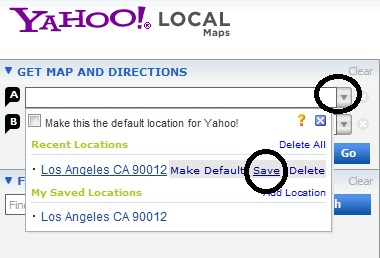 saving yahoo map