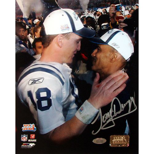 Signed photo of Tony Dungy and Peyton Manning This print is available at www.sportsmemorabilia.com