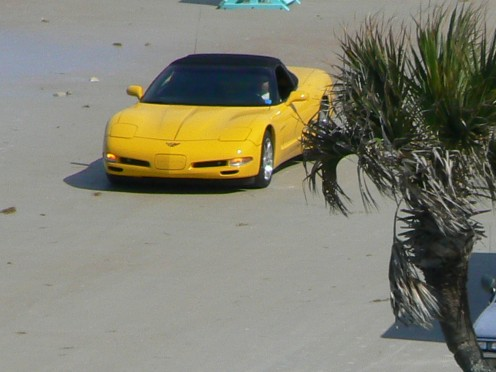 Corvette on Daytona Beach. Did you know that the Daytona race began as a beach race?