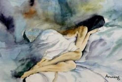 Sleeping Woman Painting by Anuraag Fulay