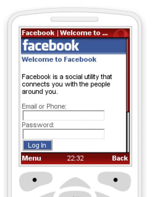 Facebook in Opera Mini mobile web browser.