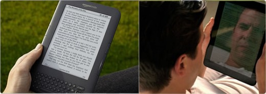 Reading from the new Kindle is different from reading from a normal LCD screen. The pictures shows the difference. LCD has backlight if read in the sunlight, Kindle has none