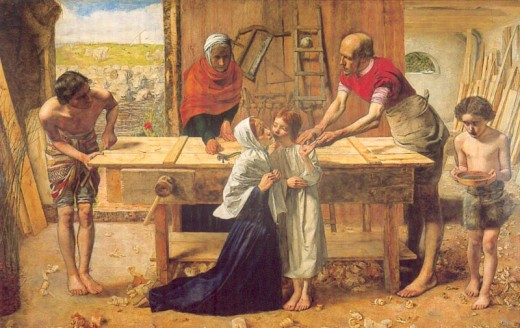 Christ in the House of his Parents by John Everett Millais, 1850, reflected the interest in the 19th century in the historical reality of the life of Jesus