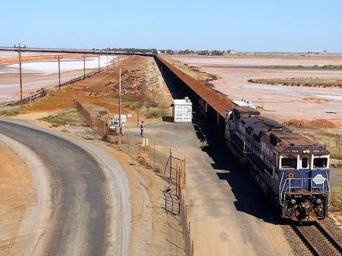 One of the seemingly endless trains that bring in the ore from faraway desert mines. The longest train ever was reported to be 13 kilometres long!