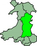 Map location of Powys, Wales, where Hay-on-Wye is located on the Wales-England border
