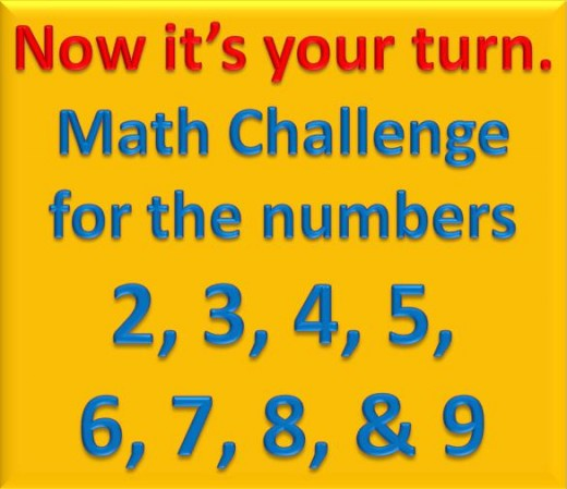 Math Challenge for numbers 2 to 9