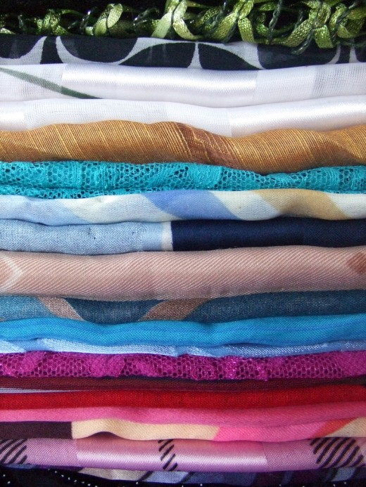 A stack of scarves - lots of options
