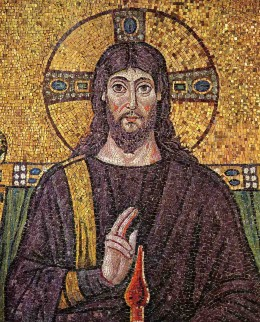 """Italy: """"Christ surrounded by angels and saints"""". Mosaic of a Ravennate italian-byzantine workshop, completed within 526 AD by the so-called """"Master of Sant'Apollinare""""."""