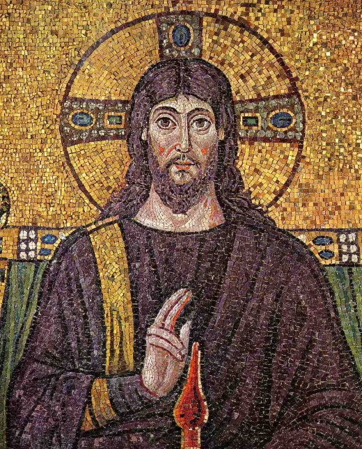 "Italy: ""Christ surrounded by angels and saints"". Mosaic of a Ravennate italian-byzantine workshop, completed within 526 AD by the so-called ""Master of Sant'Apollinare""."