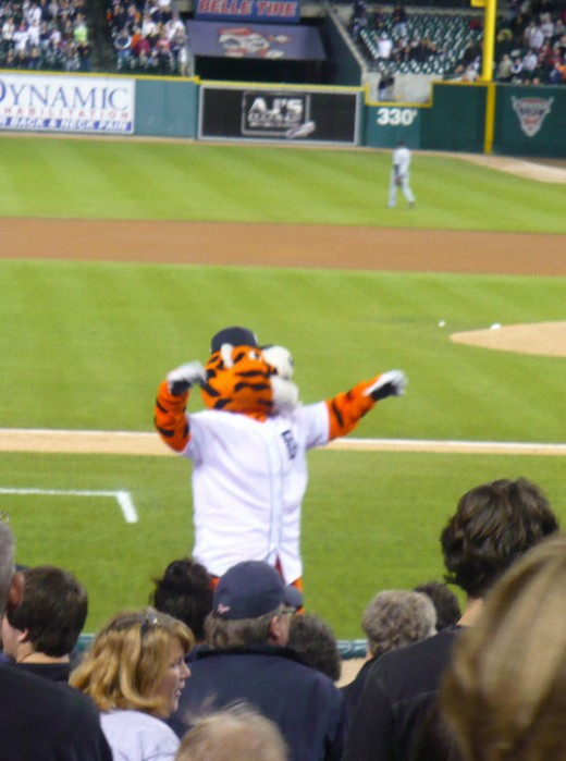 Paws leading the 7th Inning Stretch, Detroit Tigers/Chicago White Sox baseball game, Comerica Park, Downtown Detroit, Michigan