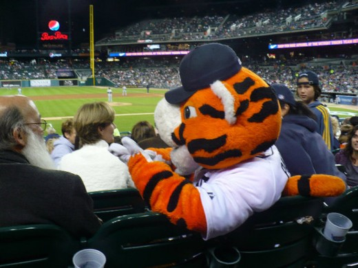 Paws the mascot, Detroit Tigers/Chicago White Sox baseball game, Comerica Park, Downtown Detroit, Michigan
