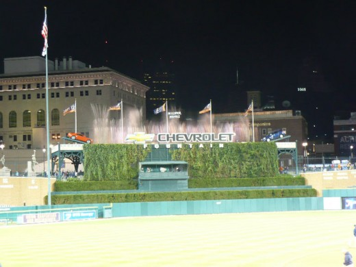 The Chevrolet Fountain at Comerica Park, Downtown Detroit, Michigan