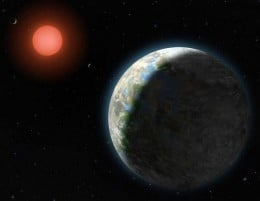 Gliese 581g's red dwarf star glows steadily in the background, providing enough warmth on the planets surface capable of supporting life as we know it.