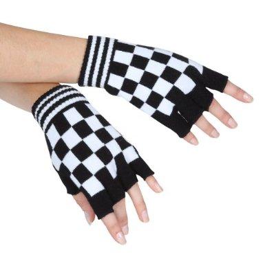 Checkerboard Fingerless Gloves at Amazon