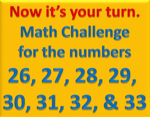 Math Challenge for numbers 26 to 33