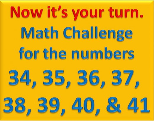 Math Challenge for numbers 34 to 41
